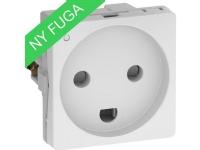 LAURITZ KNUDSEN FUGA® stikkontakt 2-pol 1 modul + DK jord med LED hvid.