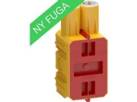 LAURITZ KNUDSEN FUGA Prefab indstøbningsdåse 15 modul med låg gul.