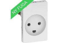 LAURITZ KNUDSEN FUGA® stikkontakt 2-pol + DK jord med LED 15 modul hvid