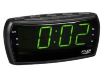 Bilde av Adler Ad 1121, Klokke, Analog Og Digital, Am,fm, Automatisk Tuning, Led, Grønn