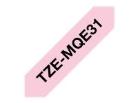 Brother TZe-MQE31 sort på pastelpink 12mm x 8m