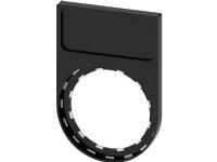 SIEMENS Label holder, flad ramme med rundet bund, Sort, til Label plade 12.5mm X 27mm