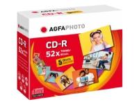Bilde av Agfaphoto - 5 X Cd-r - 700 Mb 52x - Cd-eske