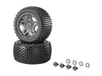 Komplette hjul 1:10 XS Reely Buggy Multipin 5 dobbelte eger Sort 1 pair