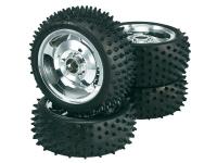 Reely 1:10 Buggy Komplette hjul Multipin 5 eger Krom 4 stk