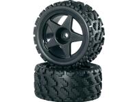 Komplette hjul 1:10 Reely Buggy Rally-block bred 5 eger Sort 2 stk